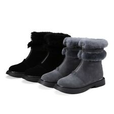 New Arrival Round Short Suede Boots Womens Fashion Rabbit Fur Warm Winter Boots