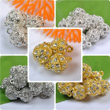 5 to 20Sets Silver Gold Plated Crystal Powerful Magnet Clasps 8MM 10MM 12MM 14MM