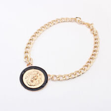 Lion Head Pendants with Chunky Link Chain Necklace Gold Tone with Black Enamel