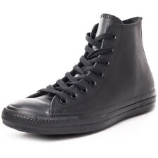 Converse All Star Leather Hi Mens Black Leather Casual Trainers Lace-up