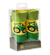 NEW John Deere Infant Green Yellow Stripe Tractor Booties 0-6 mo LP64355