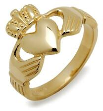 Brilliant 10k Yellow Gold Mens Irish HEAVY CLADDAGH Celtic Ring - Size Select