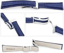 Real Shark Watch Band Compatible Breitling Folding Clasp Blue 0 25/32In
