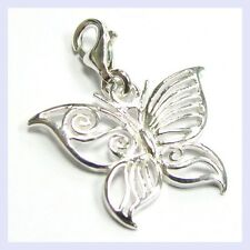 Sterling Silver Filigree Butterfly Bug Clip On Bead for European Charm Bracelet