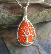 Opal Pendant,Simulated Orange Opal Tree of Life Necklace Sterling Silver