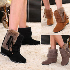 Women Ladies Winter Knitted Ankle Boots Warm Low Wedge Suede Snow Boots Size