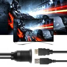 USB 2.0 HDMI Male To Female Extension Adapter Cable For Car Boat Motorcycle