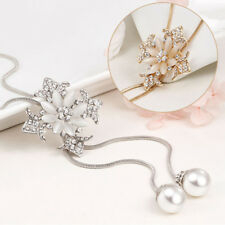 Women's Flower Faux Pearl Pendant Rhinestone Sweater Chain Necklace Exquisite