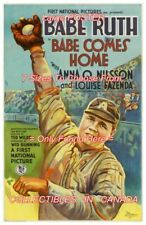 """BABE COMES HOME 1927 = Babe Ruth BASEBALL Glove BALL = POSTER 7 SIZES 19"""" - 36"""""""