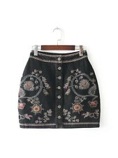 Womens Ethnic Floral Embroidery Button Blue Black Denim Mini Skirt SML