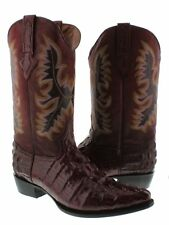 Mens Wine Cowboy Crocodile Alligator Tail Patterm Exotic Leather Boots