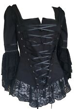 Black Gothic Medieval Steampunk Wench Bustier Lace Renaissance Pirate Corset Top