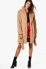 Boohoo Womens Emily Boutique Belted Faux Fur Coat