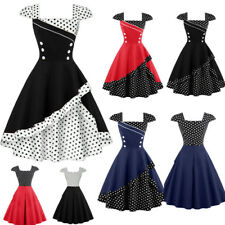 Plus Women 1950s 60s Polka Dot Vintage A-line Dress Cocktail Party Swing Dress