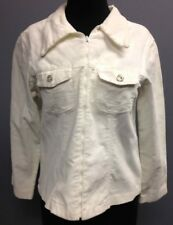 VANGAIL COLLECTION White Cotton Corduroy Long Sleeve Zip Up Jacket Sz S SM13513