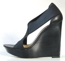 new MARK & JAMES by BADGLEY MISCHKA black X-strap platforms WEDGES shoes - HOT