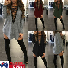 AU Women Deep V Neck Mini Dress Long Sleeve Bandage Lace up Tops Shirt Dresses