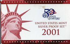 2001-S United States Mint Silver Proof (10) Coin Set w/ CoA - ED366