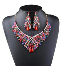 Crystal Rhinestone Jewelry Sets Flower Glass Necklace Earrings Set Wedding Bride