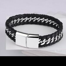 Mens Engraved Gifts Black Leather Bracelet Stainless Steel Clasp Christmas Gifts