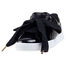 Puma Basket Heart Patent Womens Trainers Black New Shoes