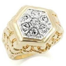 037 MANS NUGGET SIMULATED DIAMONDS MENS SIGNET RING GOLD PINKY HEXAGON SZ W 12