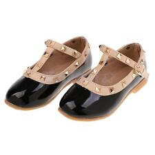 Kids Toddler Baby Girls Strap Shiny Studs Dress Flat Shoes Ballerina Shoes Black