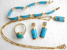 Vintage Lady 18K Gold Plated Turquoise Pendant+Bracelet+Earring Ring Jewelry Set