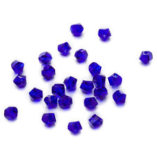50 Dark Blue Twisted Cut Faceted Crystal Glass Jewelry Making Spacer Bead 6-10mm