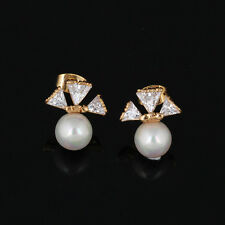 Fashion Elegant 18K Rose Gold Filled Triangle crystal Pearl Womens Stud Earrings