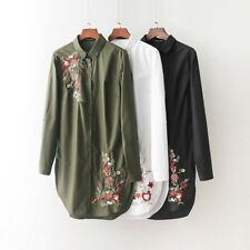 Womens Floral Embroidery Long Sleeve White Green Black Shirt Blouse Tops SML