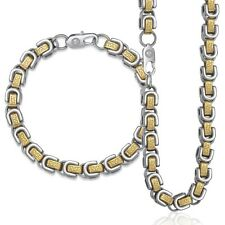 8mm Mens Bracelet Necklace Chain Set Stainless Steel Gold Silver Byzantine Box
