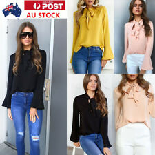 AU Womens Chiffon Blouse Long Sleeve Shirt OL Style V Neck Tops Flared Sleeve