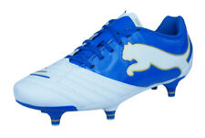 Puma PowerCat 3.12 SG Jr Boys Leather Football Boots / Soccer Cleats - White