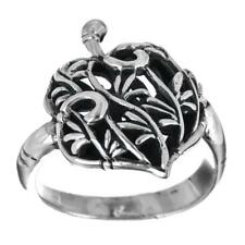 Water Lily Leaf  Flower Filigree 925 Sterling Silver Band Ring