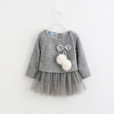 Autumn Toddler Infant Baby Girl Sweater Dress Long Sleeve Pompom Tutu Set Outfit