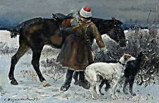 A Hunter With Borzoi Hounds by Sergey Voroshilov. Fine Art Reproduction Prints
