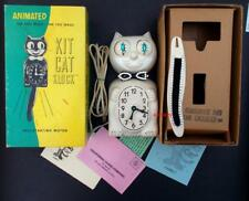 VINTAGE ELECTRIC 60s IVORY KIT CAT KLOCK-KAT CLOCK+BX-ORIGINAL MOTOR REBUILT USA