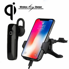 Qi Wireless Charger w/ Bluetooth Headset Air Vent Mount for iPhone X 8 Samsung