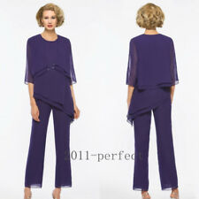 Purple Chiffon Mother of the Bride Pants Suit Plus Size Outfits Formal Dress New