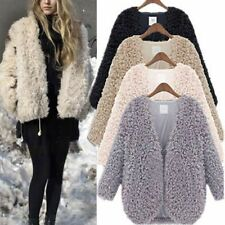 Winter Womens Warm Coat Fluffy Shaggy Faux Fur Coat Cardigan Jacket Outwear Tops