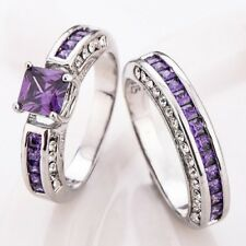 Christmas Sales Double Style Amethyst Gems Platinum Plated Wedding Ring SZ 6-10