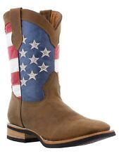 mens brown usa flag rodeo western cowboy leather boots riding stars stripes new