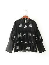 New Womens Floral Embroidery Ruffled Black Long Sleeve Shirt Tops Blouse SML