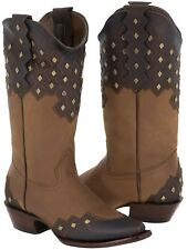 Womens Brown Honey Leather Stitched Studded Cowboy Western Cowgirl Boots Ranch