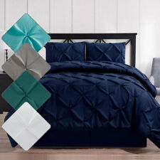 All Season Oxford Double Needle Luxury Soft Pinch Pleated Comforter Set