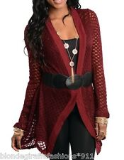 Burgundy Open Knit Crochet Sweater Shrug/Cover-Up Tunic Cardigan w/ Belt
