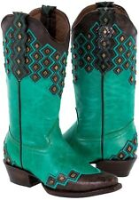 Womens Turquoise Leather Stitched Studded Cowboy Western Cowgirl Boots Ranch