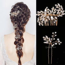 Golden Crystals Pearls Hair Comb Clips Pins Wedding Hair Accessories Jewelry