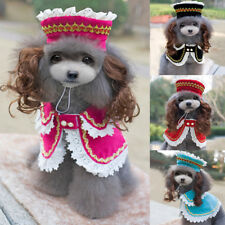 Cute Pet Dog Clothing Lace Dress Cloaks Puppy Princess Hat Wig Costume Cosplay